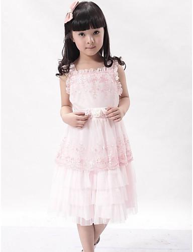 moda a-line quadrato ragazza vestito di pizzo e vestito da ballo