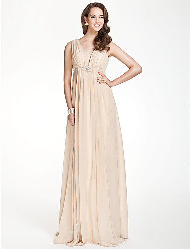 A-Line V Neck Floor Length Chiffon Bridesmaid Dress with Beading / Draping / Crystal Brooch by LAN TING BRIDE® / Beautiful Back
