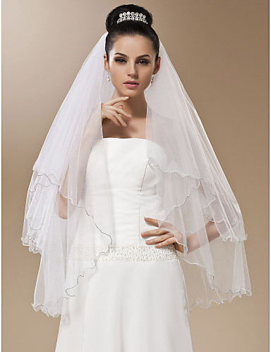 One-tier Tulle With Bead Fingertip Wedding Veil (More Colors)