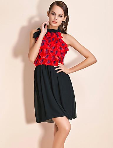 ts faliste kwiatowy szyi owinięty sukienka z paskiem (kolory więcej)