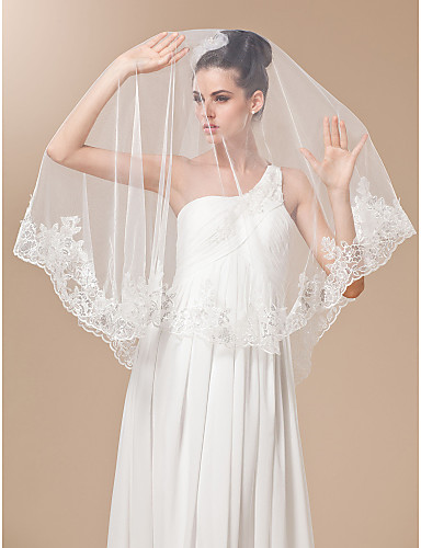 One-tier Tulle With Embroidery Chapel Length Veil