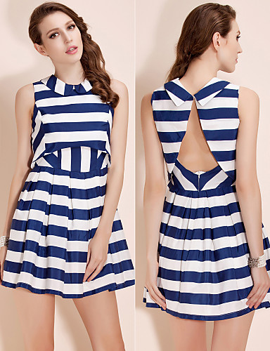 TS Two-piece Striped Swing Dress