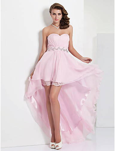 Prom / Formal Evening Dress - High Low A-line / Princess Strapless / Sweetheart Floor-length / Asymmetrical Chiffon withCrystal Detailing