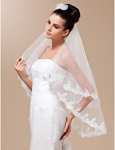 Two-tier Fingertip Wedding Veil With Lace Applique Edge