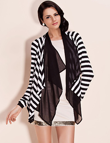TS Doube Layer Collar Stripes Jersey Jacket