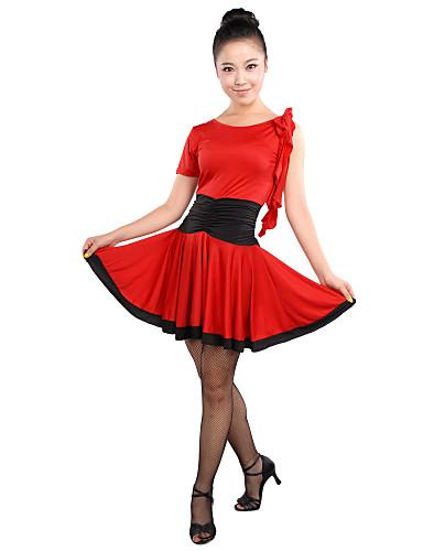 Latin Dansı Elbiseler Kadın's Eğitim Viskoz Fırfırlı Kolsuz Yüksek