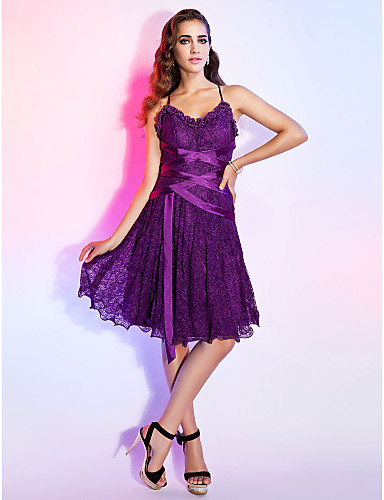 A-Line Princess V Neck Spaghetti Straps Knee Length Lace Cocktail Party Dress with Sash / Ribbon Ruffles by TS Couture®