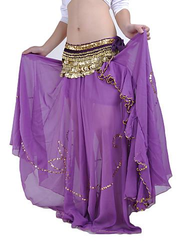 abordables Déstockage Mariages & Soirées-Danse du ventre Jupe Femme Utilisation Mousseline de soie Billes Taille basse Jupe / Spectacle