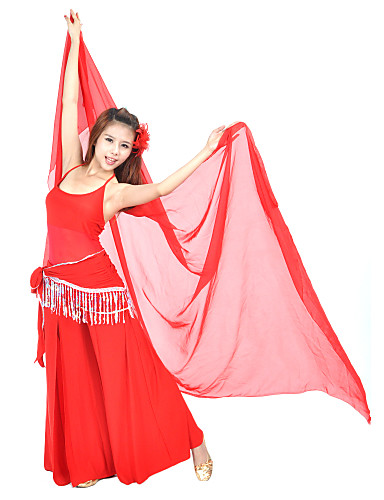Göbek Dansı Kıyafetler Kadın's Eğitim Kristal Pamuk Boncuklama Püsküllü Kolsuz Doğal Top Pantalonlar Göbek Dansı Kalça Atkısı