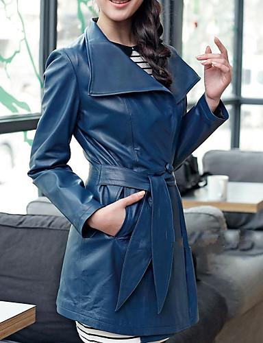 Mode met lange mouwen kraag Party / Career Lambskin Leather Coat (Meer kleuren)