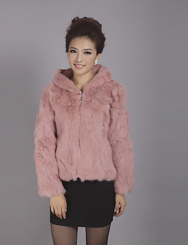 Long Sleeve Hooded Collar Office Rex Rabbit Fur Jacket(More Colors)