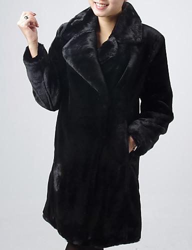 Met lange mouwen kraag Avond / Career Imitatie Mink Fur Coat