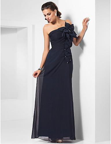 Sütun Tek Omuz Yere Kadar Şifon Boncuklama Çiçekli Kristal Broş ile Resmi Akşam / Askeri Balo Elbise tarafından TS Couture®