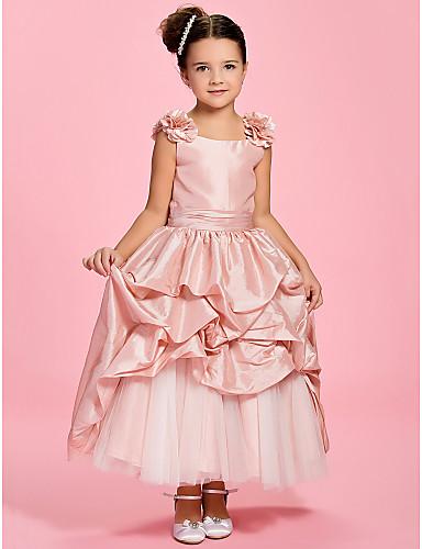 Γραμμή Α Μέχρι τον αστράγαλο Φόρεμα για Κοριτσάκι Λουλουδιών - Ταφτάς Αμάνικο Bateau Neck με Φούστα με πιασίματα / Ζώνη / Κορδέλα / Πιασίματα με LAN TING BRIDE® / Άνοιξη / Καλοκαίρι / Φθινόπωρο