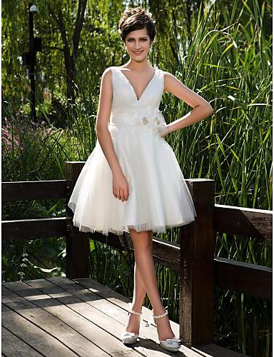 LAN TING BRIDE Ball Gown Wedding Dress - Chic & Modern Glamorous & Dramatic See-Through Knee-length V-neck Tulle withButton Flower Sash /
