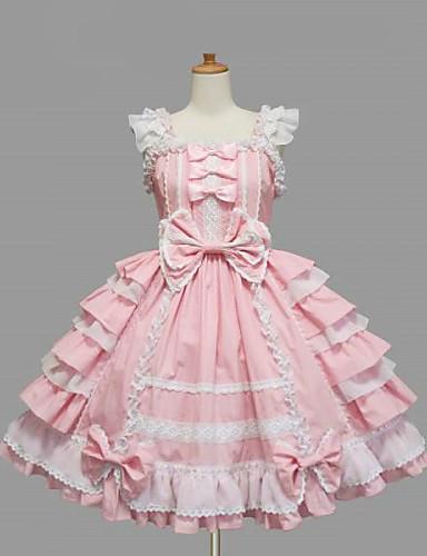 Недорогие Платья Лолиты-Девочки Sweet Lolita Платья Черный Розовый Средняя длина Хлопок Платье Лолита Аксессуары