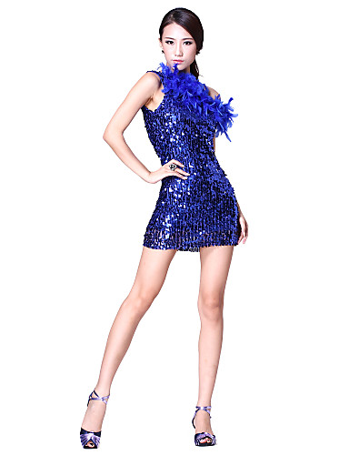 Performance Dancewear Tulle with Fur and Sequins Latin Dance Dress For Ladies More Colors
