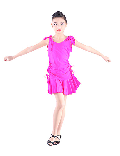 Dancewear Spandex Latin Dance Top And Skirt for Children