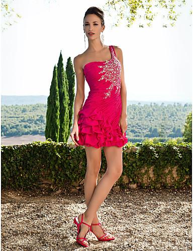 Ίσια Γραμμή Ένας Ώμος Κοντό / Μίνι Σιφόν Κοκτέιλ Πάρτι Φόρεμα με Κρυστάλλινη λεπτομέρεια / Βολάν με TS Couture®
