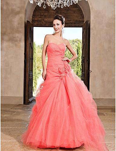 De Baile Decote Princesa Longo Tule Evento Formal / Festa de 15 Anos Vestido com Flor de TS Couture®