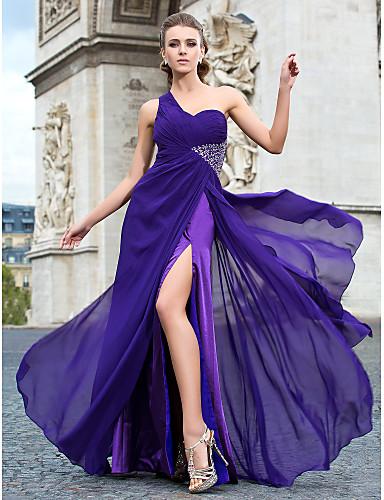 Eng anliegend Ein-Schulter Boden-Länge Chiffon Formeller Abend / Militär Ball Kleid mit Perlenstickerei Vorne geschlitzt durch TS Couture®