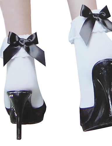 abordables Cosplay & Disfraces-Princesa Mujer Sweet Lolita Calcetines y Medias Negro / blanco Lazo Accesorios de Lolita