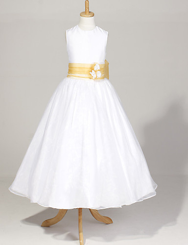 A-line Sleeveless Ankle-length Organza And Taffeta Flower Girl Dress