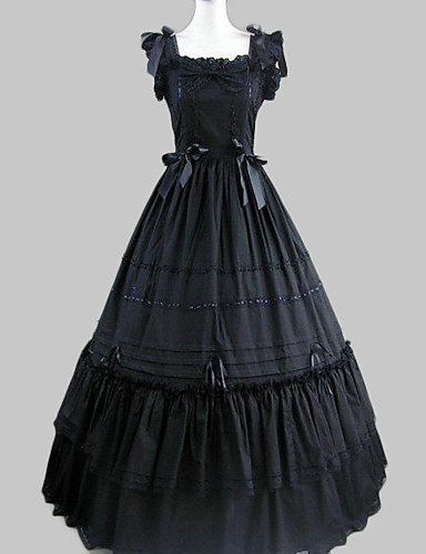 billige Leker og hobbyer-Prinsesse Gothic Lolita Ruffle Dress Kjoler Dame Jente Satin Bomull Japansk Cosplay-kostymer Svart Vintage Kappeerme Lang Lengde / Gotisk Lolita