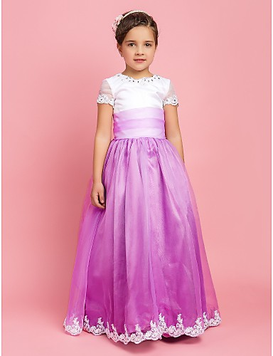 A-Line / Princess Floor Length Flower Girl Dress - Organza Short Sleeve Jewel Neck with Beading / Appliques / Draping by LAN TING BRIDE®