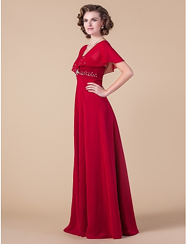 Sheath / Column Square Neck Floor Length Chiffon Mother of the Bride Dress with Beading by LAN TING BRIDE®