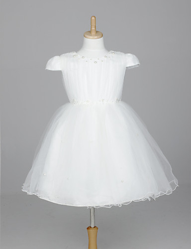 A-Line Ball Gown Princess Tea Length Flower Girl Dress Short Sleeves Bateau Neck with Appliques Bow(s) by