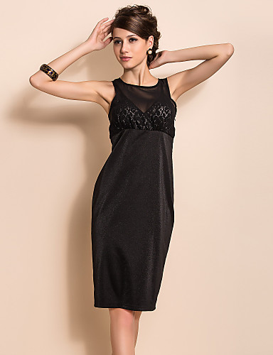 TS Sexy Perspective Mesh Front Slim Sleeveless Dress