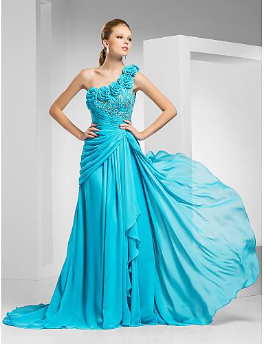 A-kroj Na jedno rame Srednji šlep Šifon Vintage inspirirano Formalna večer Haljina s Perlica / Aplikacije / Cvijet po TS Couture®