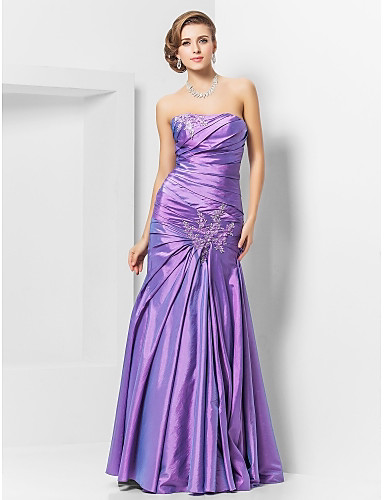 A sirena Senza bretelline Lungo Taffetà Graduazione / Serata formale Vestito con Con applique di TS Couture®