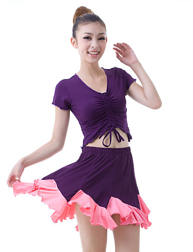 Dancewear Viscose Latin Dance Outfits Top and Skirt For Ladies