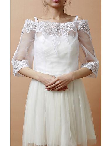 meia manga organza / lace noite / envoltório de casamento / jaqueta com apliques