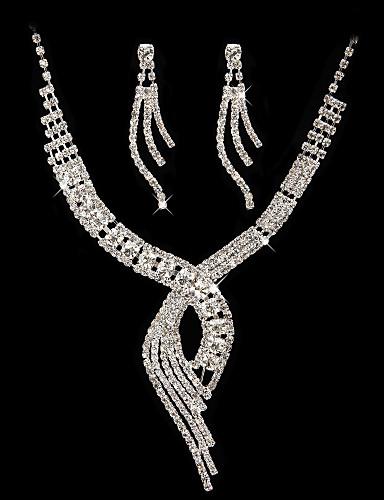 billige Smykkesalg-høy kvalitet tsjekkiske rhinestones med legering belagt bryllup halskjede og øredobber smykker sett