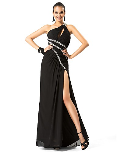 Sheath / Column One Shoulder Floor Length Chiffon Formal Evening / Military Ball Dress with Beading Split Front by TS Couture®
