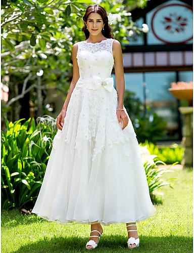 A-Linie Schmuck Knöchel-Länge Spitze Benutzerdefinierte Brautkleider mit Applikationen durch LAN TING BRIDE®