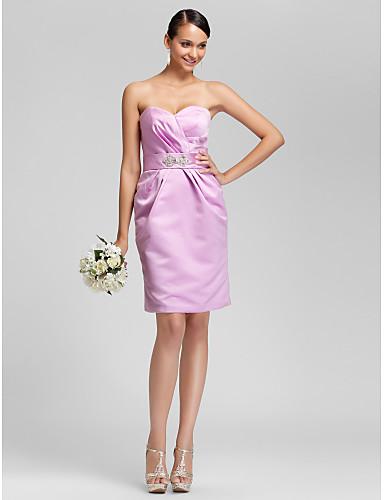 LAN TING BRIDE Mi-long Sans Bretelles Coeur Robe de Demoiselle d'Honneur - Elégant Sans Manches Satin
