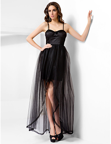 A-Line Princess Spaghetti Straps Sweetheart Floor Length Asymmetrical Satin Tulle Prom Formal Evening Dress with Draping Lace Split Front