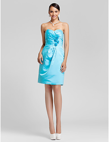 LAN TING BRIDE Knee-length Strapless Sweetheart Bridesmaid Dress - Floral Sleeveless Satin