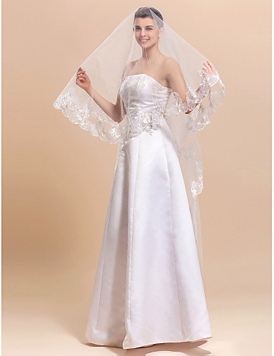 Élégant 1 couche de tulle chapelle voile de la mariée avec des finitions / dentelle Applique bord