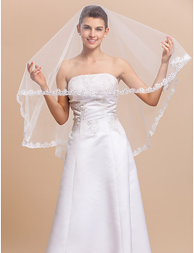 One-tier Elbow Wedding Veil With Lace Applique Edge / Finished Edge