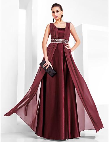 abordables robe invitée mariage-Fourreau / Colonne Col Carré Longueur Sol Mousseline de soie / Satin Elastique Robe avec Billes par TS Couture®