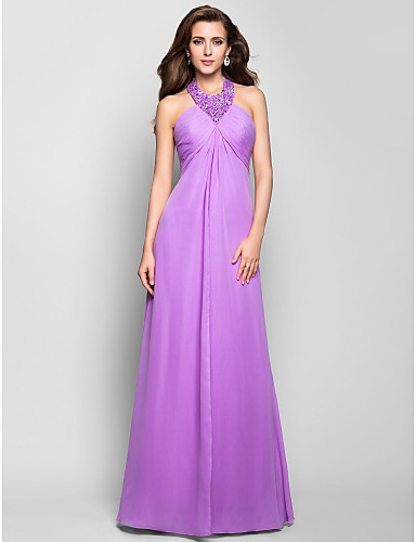 A-Line Halter Floor Length Chiffon Prom / Formal Evening / Military Ball Dress with Beading Ruched Criss Cross by TS Couture®
