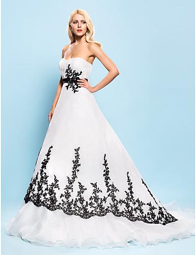 Plesové šaty Srdcový výstřih Velmi dlouhá vlečka Organza Vlastní svatební šaty s Korálky Aplikace Nabírání Šerpa / Stuha podle LAN TING