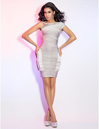 Sheath/Column Bateau Short/Mini Bandage Dress