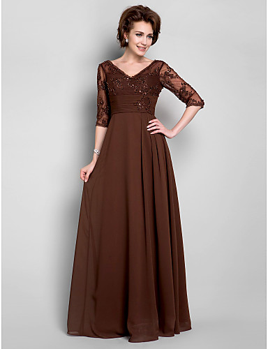 A-Line V-neck Floor Length Chiffon Lace Mother of the Bride Dress with Beading Draping Lace Ruching by LAN TING BRIDE®