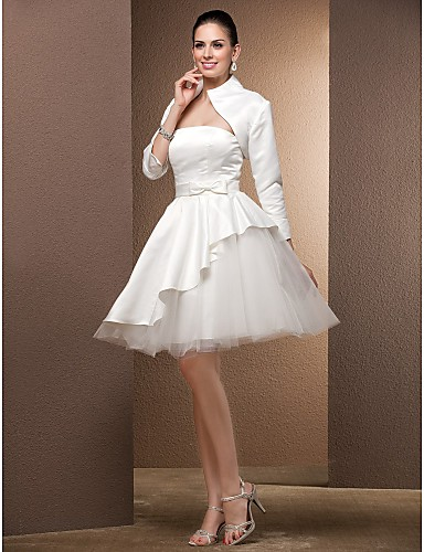 Ball Gown Strapless Knee Length Satin / Tulle Made-To-Measure Wedding Dresses with Bowknot by LAN TING BRIDE® / Yes / Little White Dress